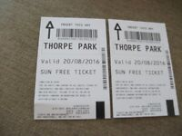 THORPE PARK 2 ADULT/ CHILDREN TICKETS FOR SATURDAY 20th AUGUST 2016