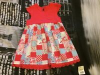 Girls red & patchwork style dress, size 18-24 months.