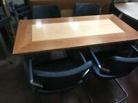 Conference Straight Table x 4 Leather Chairs Set