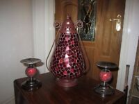 large beautiful coloured glass mosaic candle lit lantern with a pair of matching candle holders