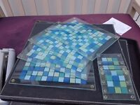 Glass TABLE MATS and Coaster Set - Blue/turquoise mosaic print, non slip feet