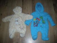 2x Beautiful new born suits both in excellent condition and lovely soft material.