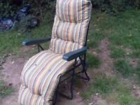 RETRACTABLE SUN LOUNGER / GARDEN CHAIR WITH CUSHION