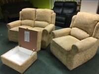 Electric Sofa With Armchair & Footstool with storage