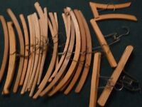 Retro, vintage, traditional wooden hangers for clothes