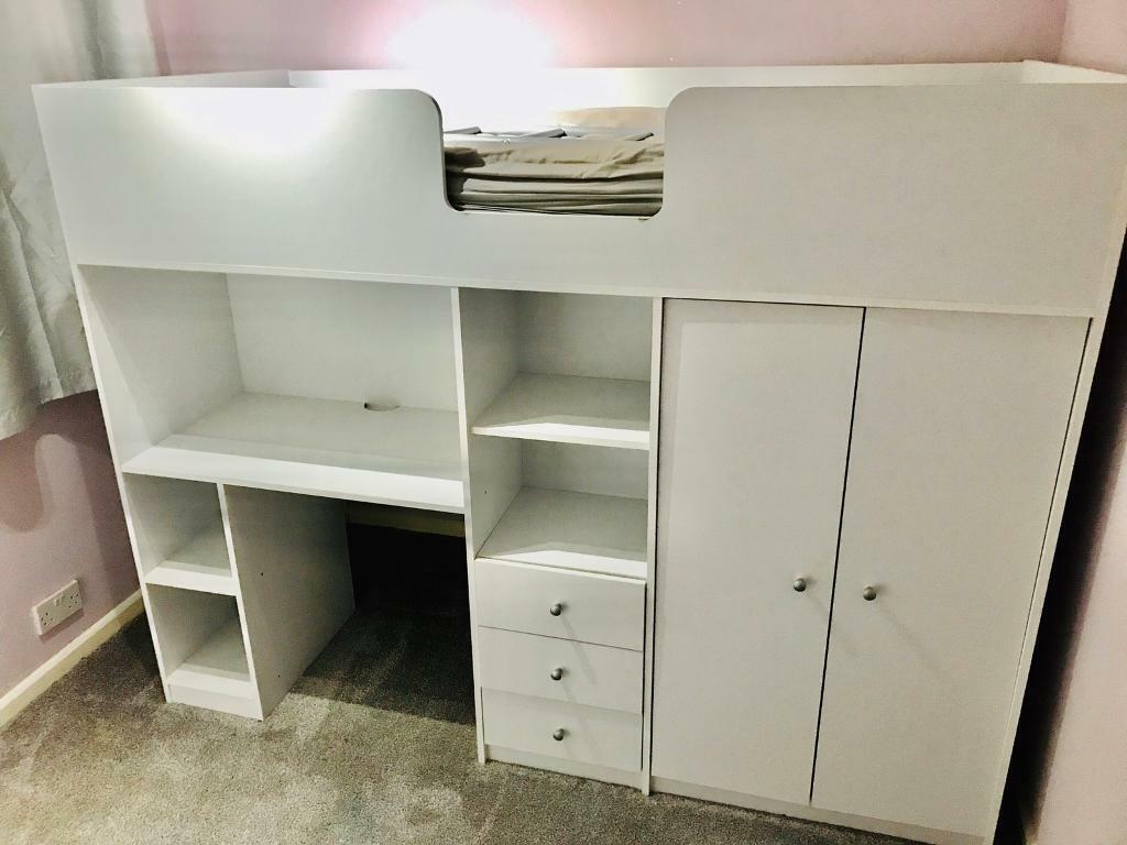 Ohio High Sleeper, single cabin bed, wardrobe, desk ...