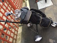 Howson golf clubs bag trolley and shoes