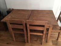 Reclaimed teak - Lombok Sumatra extendable dining table and four chairs