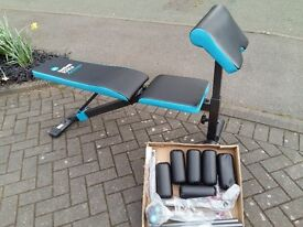 MENS HEALTH WEIGHTS BENCH WITH LEG CURL & ARM CURL ATTACHMENTS