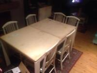 Large extendable Dining table 6 chairs