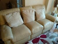 3 X 2 CREAM LEATHER RECLINER SOFAS USED CONDITION BARGAIN CHEAP