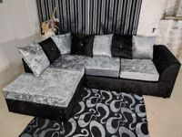 ⭕🛑CHEAPEST IN TOWN⭕🛑 BRAND New Dylan Crush Velvet Corner or 3 and 2 Sofa in Black, Silver or Mink