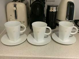 NESPRESSO coffee cups / mugs with saucer plates in white x 3