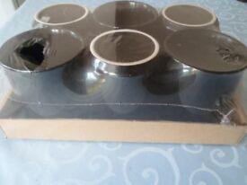 Brand New Set of 6 Wilko China Mugs Black