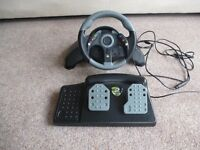 XBOX 360 RACING STEERING WHEEL AND PEDALS