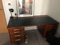Vintage 1960s wooden desk with leather top