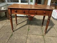Antique wooden two-drawer table / desk