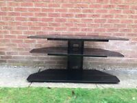 Corner TV Stand 3 black tempered safety glass shelves, heavy gauge