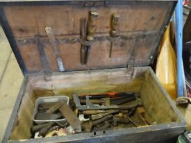 Vintage Wooden Tool Box with Metal Straps (Tools not included)