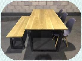 Dining table/bench/3x chairs/solid oak/industrial/furniture