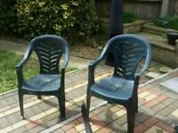 Pair of Plastic Outside Garden Chair