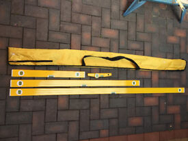 Set of four Spirit levels with carry bag