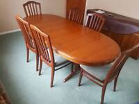 Stag extendable dining table & 6 chairs (teak)