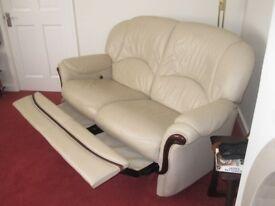 3 piece suite - cream leather with mahogany trim