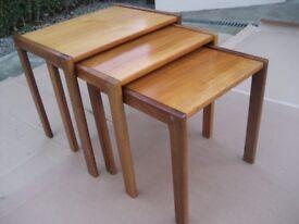 NEST OF TABLES TEAK TABLES RETRO TEAK TABLE NEST OF TEAK TABLES 1970,S TABLE