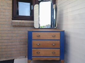 Vintage dressing table, chest of drawers. Shabby chic, retro