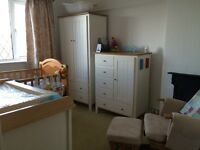 Nursery wardrobe and tall chest of drawers
