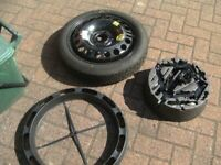 ONE,NEW/AS NEW VAUXHALL/SAAB,5 X 110 PCD SPACESAVER WHEEL,NEW TYRE,TOOLKIT ,FULL KIT