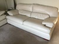 3 seater and 2 seater ivory leather sofas