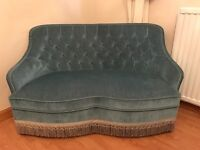 Beautiful 2 seater duck egg blue velvet sofa