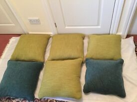 Cushions brand new feather filled 4 green 2 blue £10 EACH can deliver if local call 07812980350