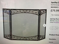 3 PANEL DUEL SCROLL bronze steel fireplace screen NEW BOXED