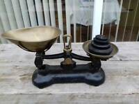 True vintage libra kitchen balnce scales with brass pans and cast weights