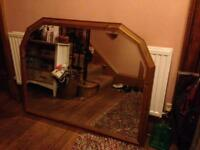 Large pine over mantel mirror