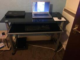 Brand new - black glass computer table