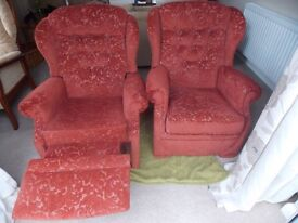 2 armchairs, 1 is a recliner