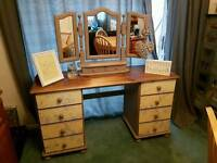 Upcycled pine dressing table and mirror