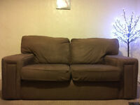 Brown Suede 2-Seater Sofa