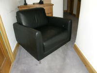 Ikea Hamra black leather armchair, beautiful condition, very comfy!