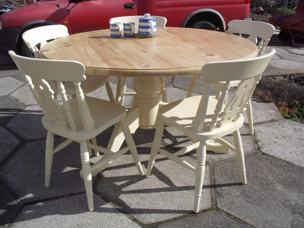 shabby chic solid pine large round table and 5 fiddle back chairs