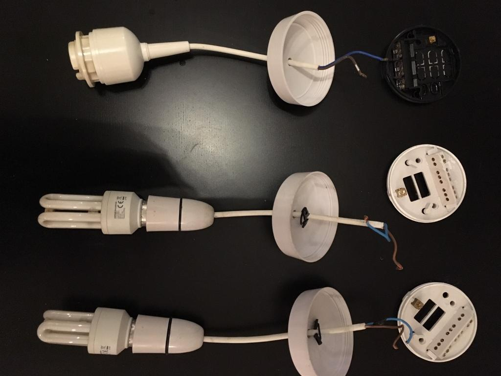 3 ceiling pendant light sets. 2x standard bayonet and 1x 4 pin fitting for CFL lamp
