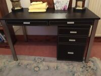 Brown leather desk with matching drawer unit