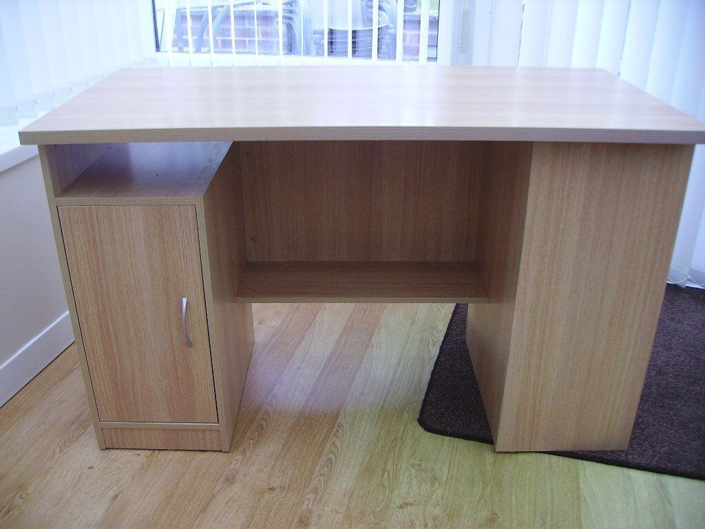 Desk work desk computer desk excellent condition nice soild deskin Shirebrook, NottinghamshireGumtree - Desk work desk or computer desk 23half inc high 47half inc long 23half inc wide shelfs at end of desk shelf at back opening door at front nice solid deck excellent condition