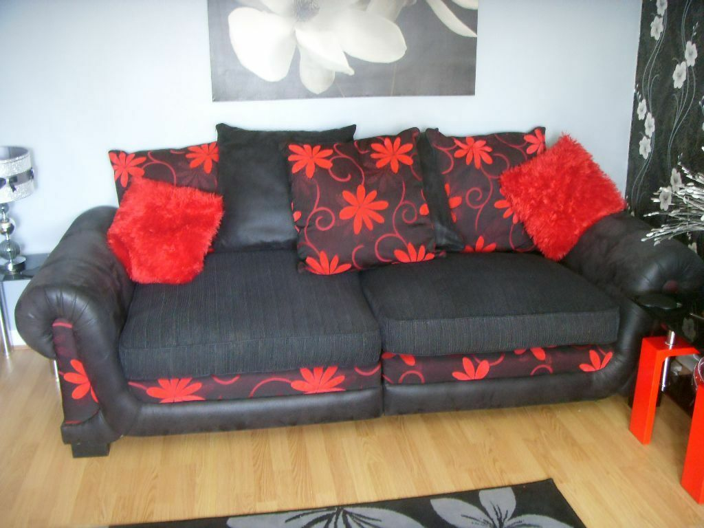Scs Charcoal Grey Black Red Sofa Suite With Two Side Tables