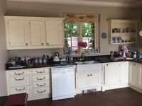 Whole kitchen with appliances, cream, countrystyle