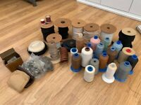 Selection of large cotton thread reels, tape and zippers